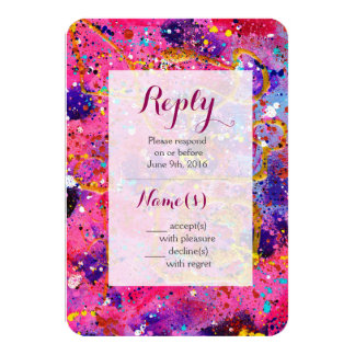 In the Pink Abstract Art Wedding Reply Card