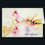 """&quot;In the Pink&quot; Hummingbird Get Well Card<br><div class=""""desc"""">This Get Well card is sure to cheer up its recipient. The print is called &quot;In the Pink&quot; and is one of may featuring hummingbirds by artist Janet Weight Reed.</div>"""