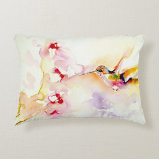 """In the Pink"" Hummingbird Print Accent Pillow"