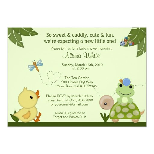 In The Pond Baby Shower Invitation duck frog 5