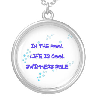 In the Pool Life Is Cool Silver Plated Necklace