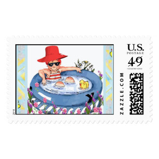 In the Pool with Ducky Postage Stamps