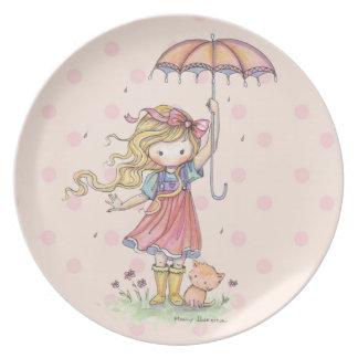 In the Rain Little Girl and Kitten Melamine Plate