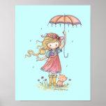 In the Rain Little Girl and Kitten Nursery Art Posters