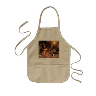 In the realm of sky, flying rocks kids' apron