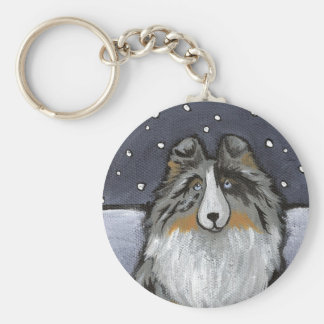 """""""In The Snow Again"""" Blue Merle Sheltie Basic Round Button Keychain"""