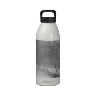 in the snowy woods reusable water bottle