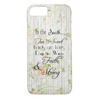 In the South, Tea is Sweet Typography Rustic Wood iPhone 7 Case