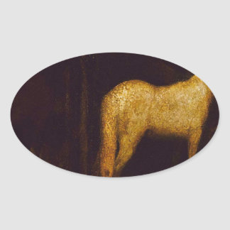 In the Stable by Albert Pinkham Ryder Oval Sticker