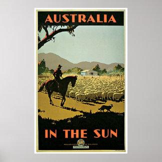 In The Sun ~ Australia  Vintage Travel Print