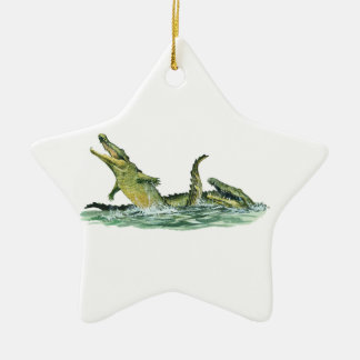 IN THE SWAMPLANDS Double-Sided STAR CERAMIC CHRISTMAS ORNAMENT