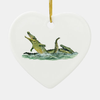 IN THE SWAMPLANDS Double-Sided HEART CERAMIC CHRISTMAS ORNAMENT