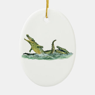 IN THE SWAMPLANDS Double-Sided OVAL CERAMIC CHRISTMAS ORNAMENT