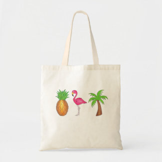 In The Tropics Pineapple, Flamingo Palm Tree Tote