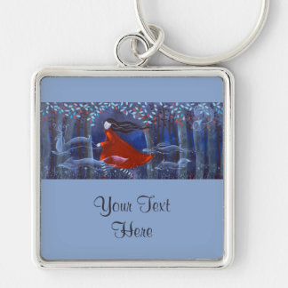 In The Woods With Animal Spirits. Silver-Colored Square Keychain