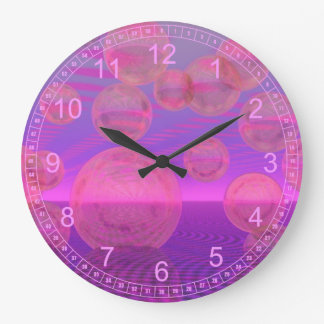 In the Zone – Abstract Rose & Amethyst Voyage Large Clock