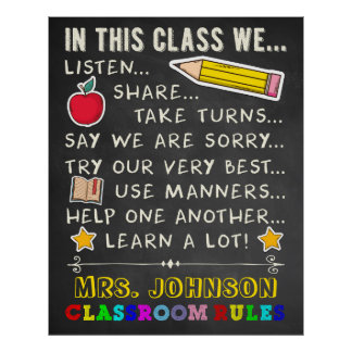 In This Class Classroom Rules Poster