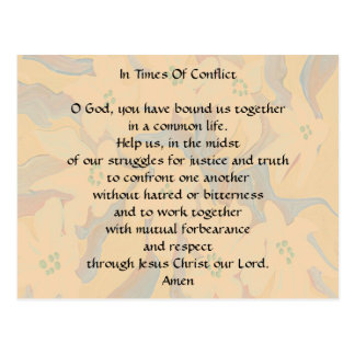 In times of conflict prayer postcard