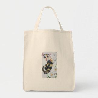 In tortoiseshell cat Shirayuri Grocery Tote Bag