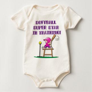 in training, pink baby bodysuit