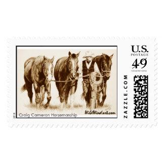 In Training_sepia mug, Craig Cameron Horsemanship Postage Stamps