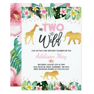 Jungle birthday invitations zazzle in two the wild birthday invitation jungle animals filmwisefo