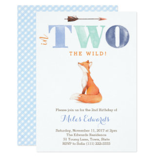 In TWO the woods! Wild Fox 2nd Birthday for Boy Card