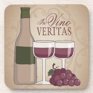 In Vino Veritas Wine Bottle Glasses & Grapes Beverage Coaster