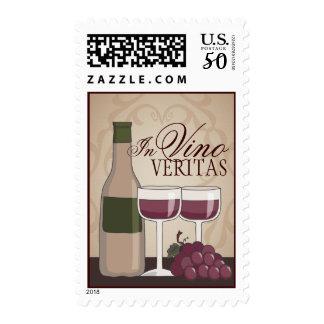In Vino Veritas Wine Bottle Glasses & Grapes Postage