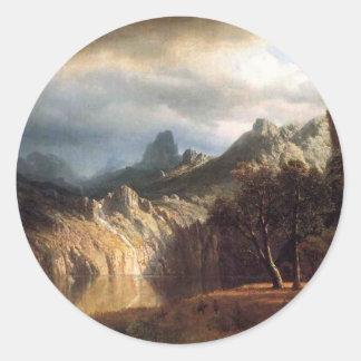 In Western Mountains by Robert Bierstadt Classic Round Sticker