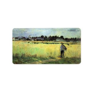 In wheat field by Berthe Morisot Custom Address Labels