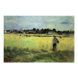 In wheat field by Berthe Morisot Poster