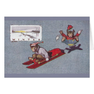 In Winter Teddy Bears Go Sledding Card
