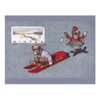 In Winter Teddy Bears Go Sledding Post Cards