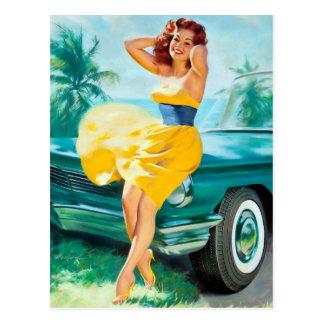 In Yellow Dress Pin Up Postcard