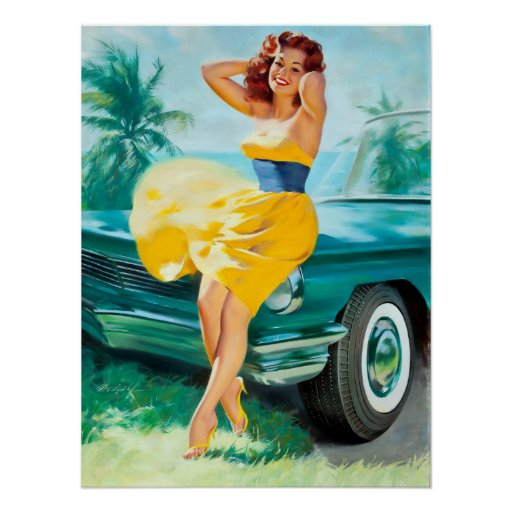 in yellow dress pin up poster zazzle. Black Bedroom Furniture Sets. Home Design Ideas