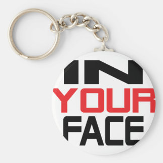 in your face text icon keychains