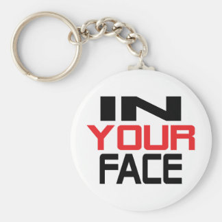 in your face text icon keychain