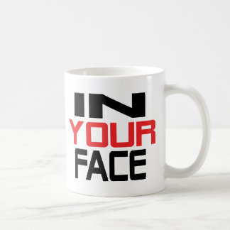 in your face text icon coffee mug