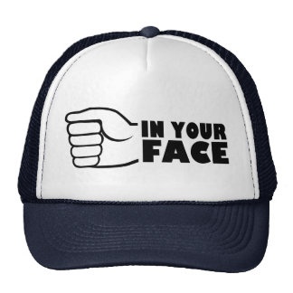 In your face trucker hat