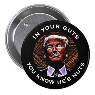 """In your guts you know he's nuts"" Trump Pinback Button"