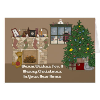 In Your New Home Christmas Fireplace Card