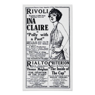 Ina Claire 1921 vintage movie ad poster