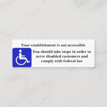 Inaccessible Establishment Cards