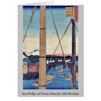 Inari Bridge and Minato Shrine,by Ando,Hiroshige Stationery Note Card