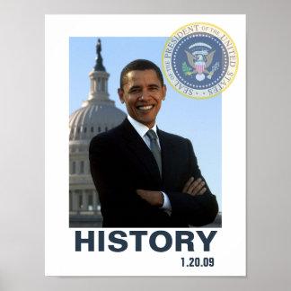 Inauguración 1/20/09 de Obama de la HISTORIA Póster