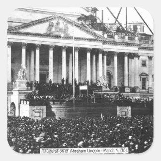 Inauguración Abraham Lincoln del 4 de marzo de Calcomanías Cuadradas Personalizadas