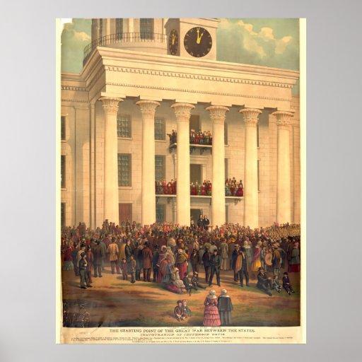 Inauguración de presidente Jefferson Davis de CSA Póster