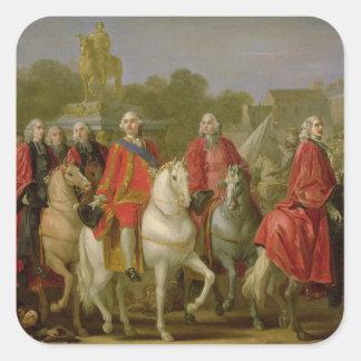 Inauguración del lugar Louis XV Calcomanía Cuadradas Personalizadas