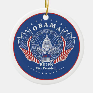 Inaugural 2013 Double-Sided ceramic round christmas ornament